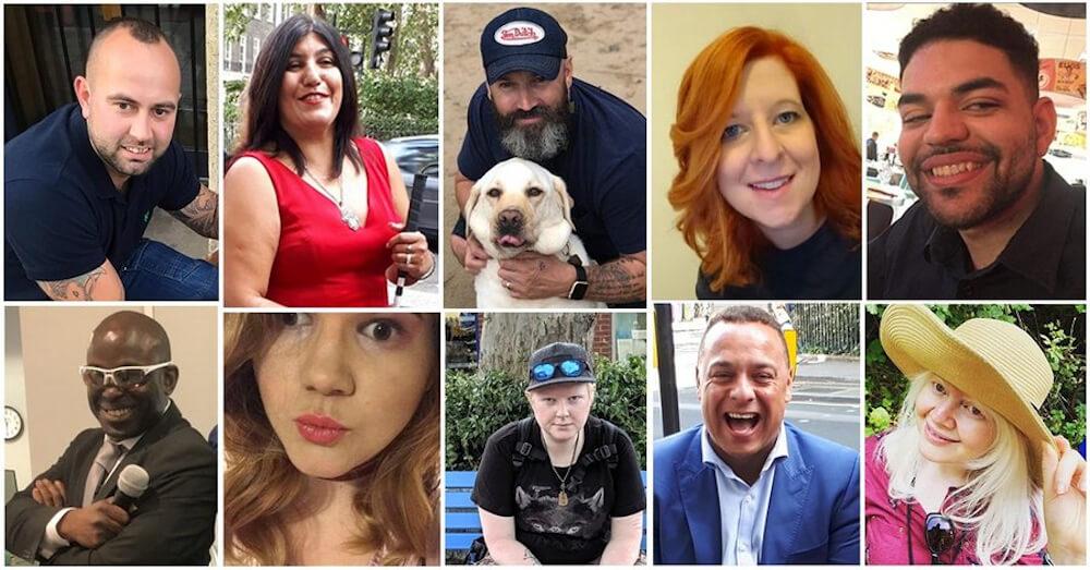 Un collage de 10 personnes différentes dans l'image divisée.