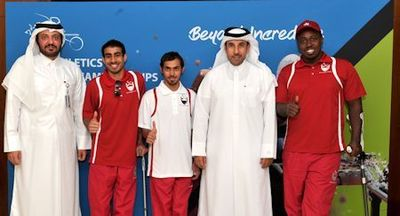H.E. Dr. Thani Al-Kuwairi, Mr. Ameer al-Mulla, Qatari Athletes Mohamed
