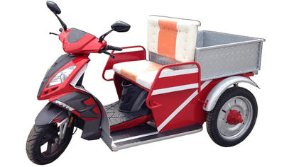 Red two person 3 wheel electric scooter with side by side seats and rear cargo tray.