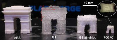 An example from the research shows how a 3-D-printed object composed of hydrogel (G1) can change size after printing. While this example serves to demonstrate the result, other objects can be used as filters or storage devices. Image Credit: Chenfeng Ke.
