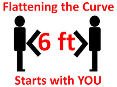 Illustration of two people standing six feet apart. Flattening the curve starts with you - is written in red on the image.
