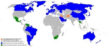 Map of nations with Universal Health Care