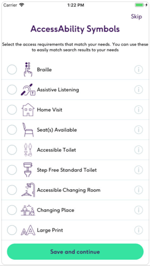 Screenshot of the AccessAble App showing some of the informative accessibility symbols used.