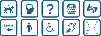 Illustration of eight (8) accessibility signs and symbols.