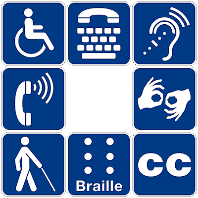 Eight symbols representing different disabilities.