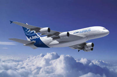 Blue and white Airbus A380-800 in flight – The A380 4 engine jet airplane is currently the biggest passenger airplane in the world.