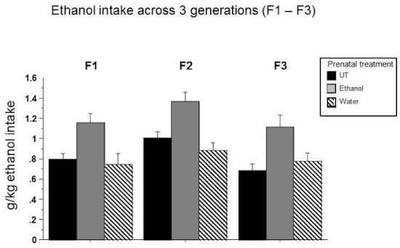 Figure 2. Graph from the paper details ethanol intake across 3 generations. Credit Nicole Cameron/Binghamton University