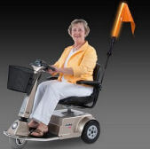 Orange alert light mounted on mobility scooter