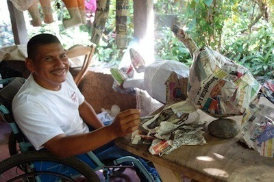 Amilcar Hernandez Juarez, of El Salvador, was born with spina bifida that left him unable to walk. After graduating from high school, Juarez learned the art of pinateria, but immobility had limited his ability to distribute his products. Thanks to his increased mobility he is able to expand his business opportunities and provide for his family.