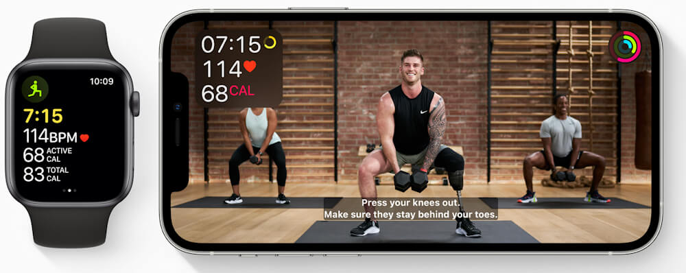 Image shows Apple Watch Series6 and iPhone 12 Pro with fitness app displayed on each device. Closed captioning for every workout is one of the ways Apple is making Fitness+ inclusive and welcoming to all users. Image credit: Apple.