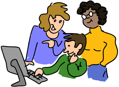 Clipart image of man and woman helping son use a computer to apply for a scholarship.