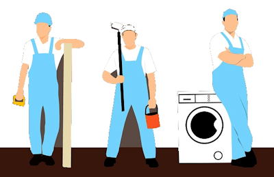 Clipart image of a carpenter, painter, and appliance technician.