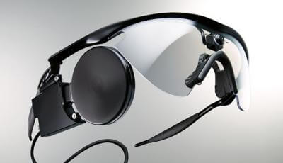 This is the headset for the Argus II retinal implant device from Second Sight