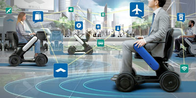 Artists impression of the futuristic looking Whill wheelchair in a future environment - WHILL autonomous technology visual representation.
