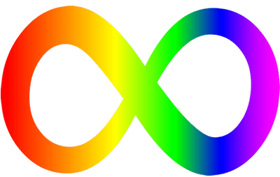 The rainbow-colored infinity symbol represents the diversity of the autism spectrum as well as the greater neurodiversity movement.