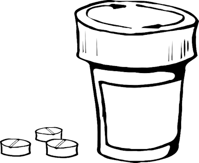Clipart image of pill container and 3 aspirin alongside it.