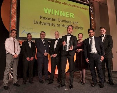 Paxman and the University receiving the award. From left to right the people in the photo are: Dr Nik Georgopolous, Dr Andrew Collett, Dr Ertu Unver, Mr Glenn Paxman, Chairman of Paxman, Mr Richard Paxman, CEO of Paxman, Mr Omar Hussain (Phd sponsored by Paxman), Mr Christian Sorbie, KTP Associate.