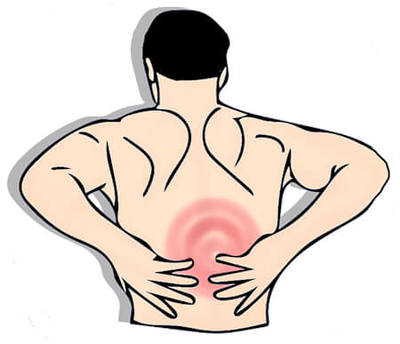 Illustration of a person in pain holding the middle of their back.