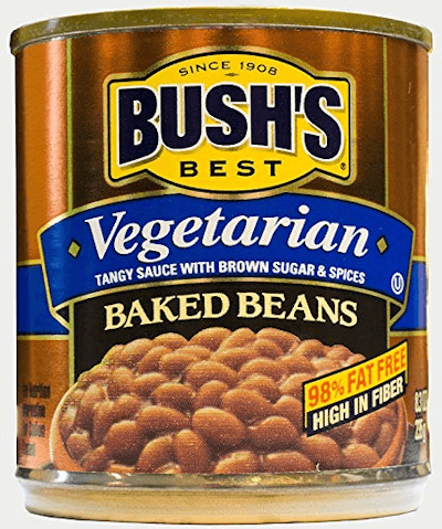 Can of high fiber Bushs vegetarian baked beans.