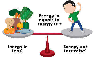 Balanced diet. Seesaw with food on one end and a person on the other end. Slogan reads; Energy in (eat) equals Energy out (exercise).