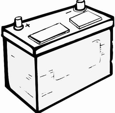 Black and white illustration of a lead acid type battery.