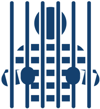 Silhouette illustration of a person behind prison bars.