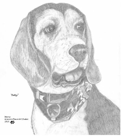 Portrait of Betsy; by Marcy, Gracie's Place Art Studio Pencil art drawing.