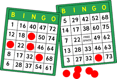 Illustration shows two Bingo tickets with several numbers daubed in red.