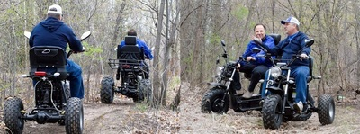 Rear and front views of the Boomerbeast all-terrain AWD mobility scooter.