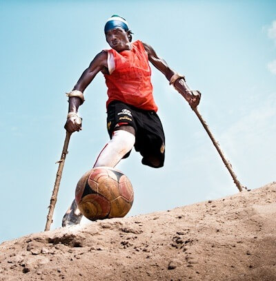 Bornor Kargbo, captain of The Flying Stars amputee soccer team in Freetown, Sierra Leone (photo: Johnny Vong)