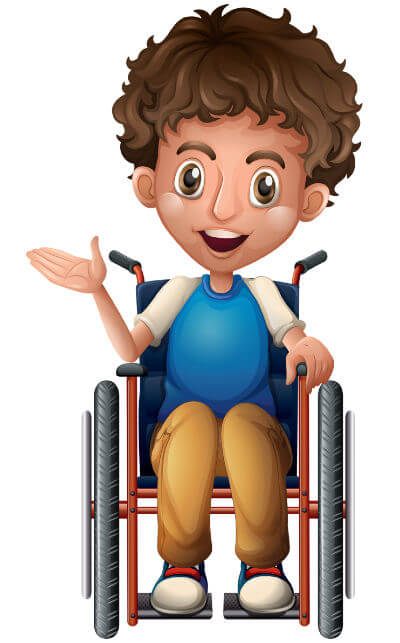 Clip-art image of a boy wearing a blue top and brown trousers in a wheelchair.