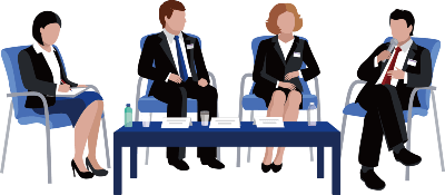 Business meeting illustration depicts 4 people seated in blue chairs behind a dark blue table.