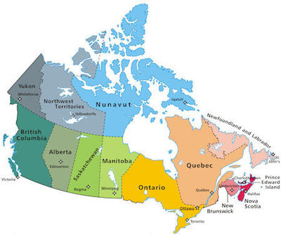Map of Canada showing Canadian provinces.