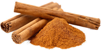 Cinnamon in rolled up sticks and powdered forms.