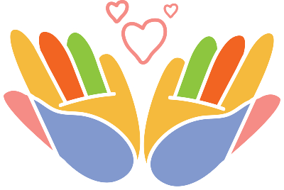 Illustration of two multi-colored hands outstretched. The pink outline of three heart symbols are at the top center.