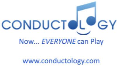 Blue Conductology Logo features the word Conductology with a blue music note symbol, followed by the words - Now Everyone Can Play - www.conductology.com