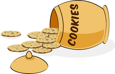 Clipart image of a cookie jar on its side with several spilled cookies.