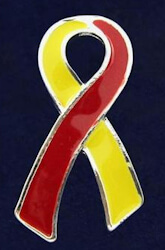 Red and yellow Coronavirus awareness ribbon pin. Nicole B. RN a Registered Nurse in San Diego, California was looking for an awareness ribbon for their hospital staff and was able to come across a great covid awareness ribbon that is gaining popularity. For her, as a nurse, it resembles the colors associated on the actual virus. Nurses work first hand with covid patients. Many of the staff have been infected with this virus and one of their co-workers passed away due to complications. Nicole feel like this would be a great thing to make official to boost morale and in support of survivors and front-line workers. Their staff are proud to wear the red and yellow covid ribbon in support of all the hard work that is being done.