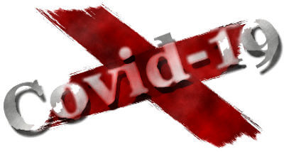 Illustration of a cross in red paint with the word Covid-19 in silver type across one length.