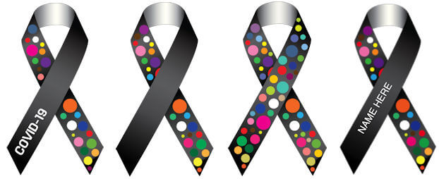 Four images of a COVID-19 awareness ribbon design - Image Credit: Terry French of WXYZr Inc.