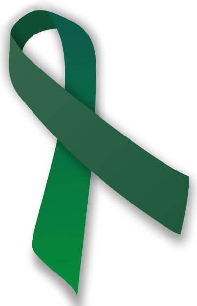 Green cerebral palsy awareness ribbon.