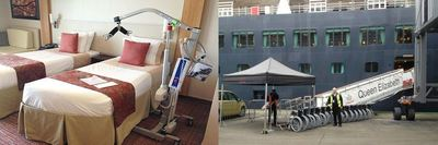 Left: Transfer hoist in cruise ship cabin - Right: Wheelchairs on dock next to moored cruise ship