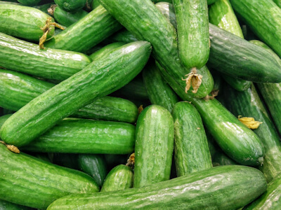 Close-up photo of green cucumbers.