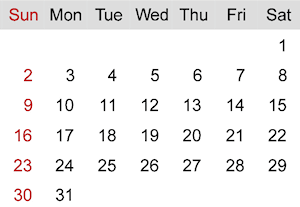 Calendar page showing days and dates.