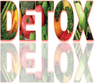 The word DETOX cut from a picture of vegetables. The DETOX word is mirrored below in a translucent image.