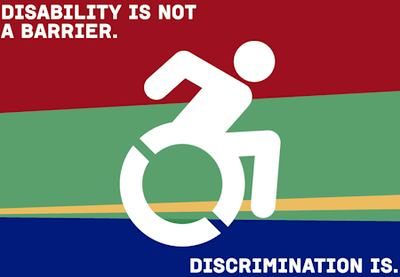 Illustration depicts a person in a wheelchair leaning forward. Words on the image background say - Disability is not a barrier - Discrimination is.