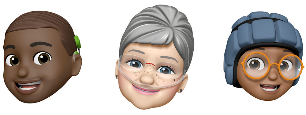 New Memoji customizations better represent users with oxygen tubes, cochlear implants, and a soft helmet for headwear. Memoji and Animoji are most often used in Messages as stickers or videos, with FaceTime calls, and in third-party apps and messengers. Image credit: Apple.