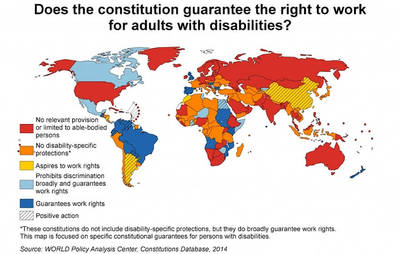 Shaded world map statistics to the question: Does the constitution guarantee the right to work for adults with disabilities?