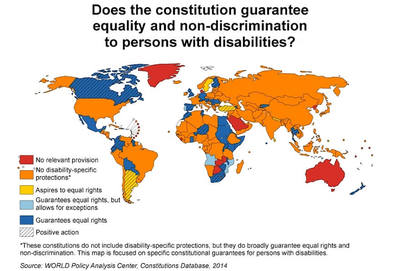 Shaded world map statistics to the question: Does the constitution guarantee equality and non-discrimination to persons with disabilities?