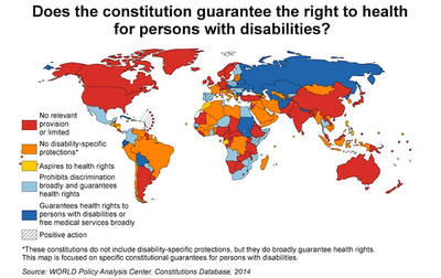Shaded world map statistics to the question: Does the constitution guarantee the right to health for persons with disabilities?